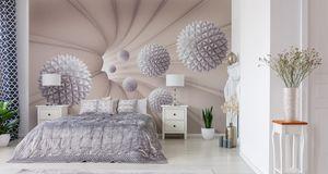 Muralo Fototapete 3D Effekt 416 (B) x 254 (H) cm Vlies Wand Tapete Kugeln Abstraktion 3D Optik Wohnzimmer Schlafzimmer moderne Wandbild