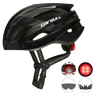 Rennrad-Mountainbike-Helm mit Rücklichtern, Kappen und Schutzbrille , Abnehmbare Visierbrille Fahrrad-Fahrradschutzhelm 22 Belüftungsöffnungen,mit ,Kopfumfang: 55 - 61 cm【 schwarz】