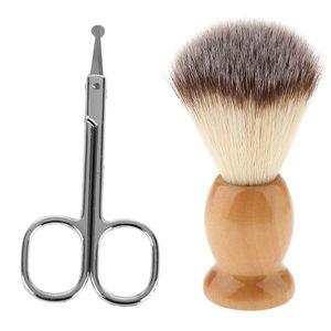 Professionelle Männer Rasierpinsel Aus Holz mit Gerader Nase Haarentferner Schere Trimmer Set