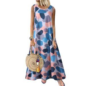 Frauen Sommer Rundhalsausschnitt Ärmell bedrucktes Retro Ethnic Beach Langes Kleid, Hellblau M.