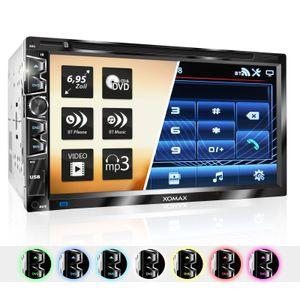 XOMAX XM-2D6907 2DIN Autoradio mit USB Mirrorlink, 6,95' kapazitivem Touchscreen Monitor, DVD-Laufwerk, Micro SD und USB