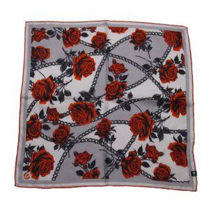 FRAAS Halstuch Nickituch Floralprint grau mit roten Rosen Seide 53x53 cm