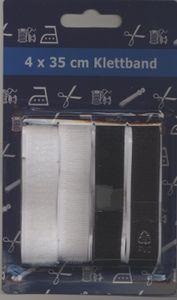 Klettband Klettverschlussband Breite 2cm, 4 x 35 cm, nähbar, weiß + schwarz
