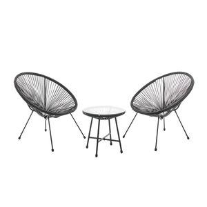 SVITA BALI Balkon-Möbel 3-tlg. Polyrattan Lounge-Set Balkon-Set Schwarz