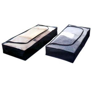 2er Pack Unterbettkommode 103x45x15cm Schwarz Unterbettbox Unterbett Aufbewahrung Kommode Bett Aufbewahrungstasche