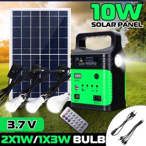 Solar Power System solaranlagen Tragbare Energiesparlampe 10W / 6V Solar Panel 3.7V mit drei Leuchtmitteln Grün