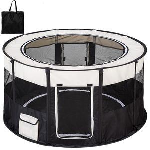 tectake Welpenlaufstall Carola aus Polyester mit Tragetasche - schwarz