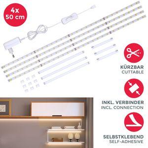Set LED Band 2m Stripes weiß Deko 4 Streifen TV-Licht Unterbauleuchte +Verbinder B.K.Licht