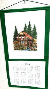 """Stoffkalender 2021 Wandkalender / Geschirrtuchkalender  Schwarzwaldmühle """" 35x65 cm mit Transferdruck"""