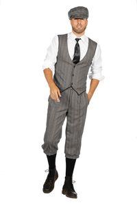 20er Jahre Peaky Blinders Anzug Knickerbocker Herren Kostüm Schwarz-Weiß, Größe:54