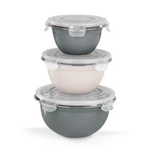 Schüssel Edelstahlschüsseln Klick-It Deckel Küchenschüsseln Teig Salat 3er Set