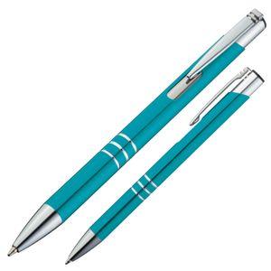 10 Kugelschreiber aus Metall / Farbe: türkis