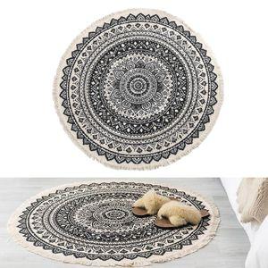 Bereich Teppich Handgemachte Chic Tapisserie Boho Stil Quasten Nicht-slip Tür schwarz Bohemien 90cm Durchmesser Runder Teppich