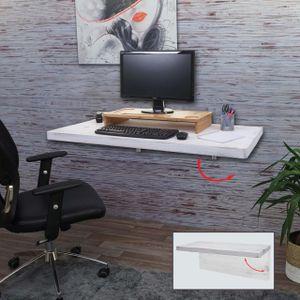 Wandtisch MCW-H48, Wandklapptisch Wandregal Tisch, klappbar Massiv-Holz  120x60cm shabby weiß