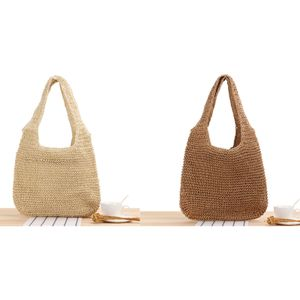 Stroh Umhängetaschen Damen Handtasche Handgemacht Strand Rattan Tasche Beige