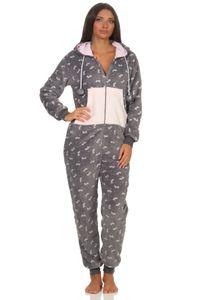 Wunderschöner Damen Jumpsuit mit Kapuze aus  in winterlichem Design - 202 900, Farbe:grau, Größe:48/50