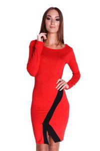Damen Elegant Kleid Dress Langarm Cocktailkleid Abendkleid zweifarbig Onesize Gr. 36 38 S M, 8134 Rot