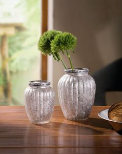 Vase 'Eleganz', 2er Set Gefäß Dekoration Tisch Deko Blumen zeitlos