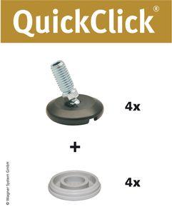 WAGNER QuickClick® HYPER 4er-Set - 4x Verstellfuß, Kugelgelenk, Gewindestift M10x25 mm, Gleiter Ø 30 mm, DE Ware - 15832700