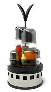 Menage Essig und Öl Spender Glas Salz Pfeffer Set Edelstahl 209 Silber Glas Ölspender