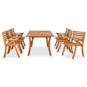 Möbel® 7-tlg. Garten-Essgruppe,mit Tisch & 6 Stühle,Gartenmöbel,Outdoor-Essgarnitur für 6 Personen,Einfach Montage,Massivholz Akazie🐳7375