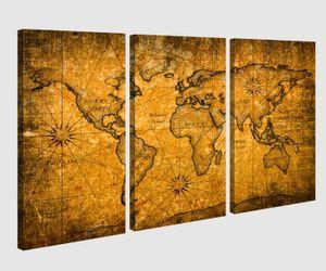 Leinwandbild 3 tlg Karte Welt Weltkarte braun antike Landkarte Afrika map alt Bild Bilder Leinwand Leinwandbilder Holz Wandbild mehrteilig 9W167, 3 tlg BxH:120x80cm (3Stk  40x 80cm)