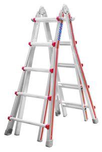 Hymer Teleskopleiter, 4x5 Sprossen, senkr. Höhe Stehleiter 1,40 - 2,49 m, Reichhöhe 3,80 / 6,10 m, Gewicht 15,2 kg