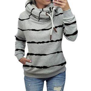 Damen gestreifter Hoodie lässiges Top-Sweatshirt,Farbe: Grau,Größe:M