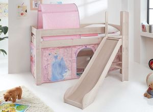 Hochbett LEO Kinderbett mit Rutsche Spielbett Bett Weiß Stoffset Cinderella
