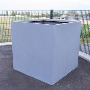 Pflanzkübel, Blumenkübel Fiberglas quadratisch 70x70x70cm grau.