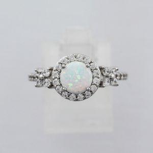 Opal Ring Silber 925 weiss blau 17