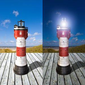 Solar Leuchtturm Roter Sand Höhe 78cm aus Polyresin mit einer weissen LED 2325