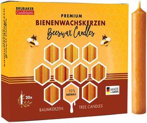 BRUBAKER 100er Pack Baumkerzen 10% Bienenwachs Weihnachtskerzen Pyramidenkerzen Christbaumkerzen Honig-Gelb