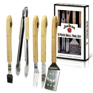 Jim Beam Grillbesteck Grillset Geschenkbox Parawood 5-teilig