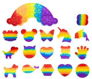 Push Pop Spielzeug Regenbogen Fidget Popper für Kinder Antistress ADHS , Form wählen:Einhorn