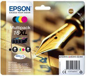 Epson Pen and crossword Multipack 16XL DURABrite Ultra Ink, Hohe (XL-) Ausbeute, Tinte auf Pigmentbasis, 12,9 ml, 6,5 ml, 4 Stück(e), Multipack