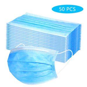 50 x Atemschutzmasken , einweg Einweg-3-Lagen-Maske Vliesfasergewebe Atmungsaktive Gesichtsmaske Anti Staub Flexible Ohrmuschel Mundmaske Hygienemaske Blau