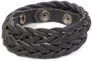 styleBREAKER Leder Armband in Flecht Optik, Vintage Style, Lederarmband, geflochten, Unisex 05040053, Farbe:Dunkelgrau