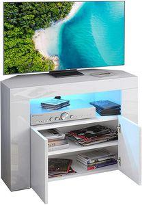 iropro TV Board Eckschrank Lowboard Fernsehtisch Fernsehschrank mit LED Beleuchtung Weiß Hochglanz mit Türen 86x27x65 cm