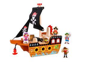 Tooky Toy spielset Piratenschiff 33 cm Holz braun/schwarz 7-teilig