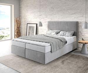 Bett Dream-Well Mikrofaser Grau 140x200 cm mit Matratze und Topper