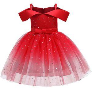 Mädchen Prinzessin Kleid Glänzend Tutu Kleid Schulterfrei Hochzeit Partykleid,2-3 Jahre (80-92) Rot