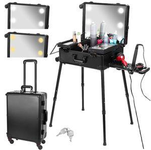 Kosmetikkoffer Visagistenkoffer mit Rollen 6 LED Licht Beauty Case SchminkkofferTeleskop Stativ-Füße Schwarz 8901