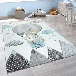 Kinderzimmer Teppich Blau Grau Heißluftballon Wolken Tiere 3-D Design Pastell, Grösse:120x170 cm