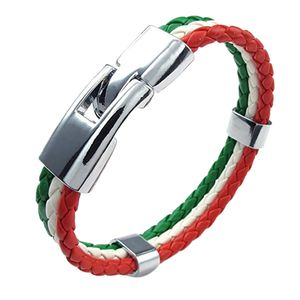 neue stilvolle geflochtene Armband Fans Flagge Banner Manschette Armreif Italien Mehrfarbig 20,5 cm