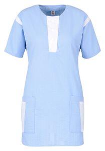 Größe S beb Damen Schlupfkasack Kasack Hellblau Weiß 50 % Baumwolle 50 % Polyester Seersucker