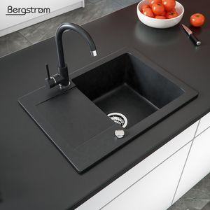 Bergström Spüle Verbundspüle Granitspüle Küchenspüle Einbauspüle 420 x 580 mm + Drehexcenter + Siphon schwarz