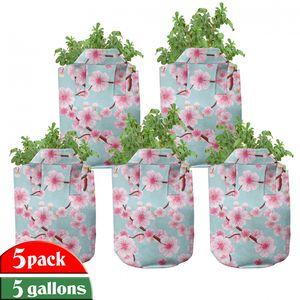 ABAKUHAUS Kirschblüte Zuchttöpfe 5er-Pack, inspirierend Garten, hochleistungsfähig Stofftöpfe mit Griffen für Pflanzen, 5 Gallonen, Pale Blue Redwood Rosa