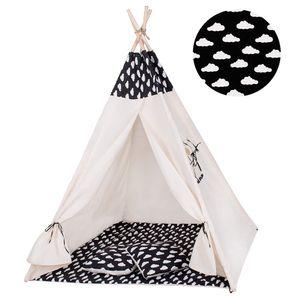 Tipi Zelt Kinder Spielzelt Baumwolle 2 Kissen Kinderzelt 160x120x100 cm - Schwarz/Wolken