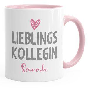 personalisierte Kaffee-Tasse Lieblings-Kollegin mit Namen Namenstasse SpecialMe® inner-rosa Keramik-Tasse